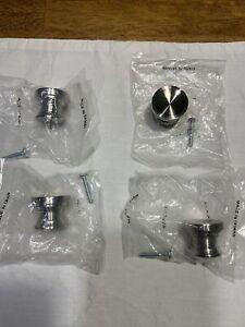 """Restoration Hardware Lot of 4 - 1.2"""" Cabinet Drawer Pulls Knobs Brushed Nickel"""