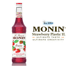 MONIN Coffee Syrups - STRAWBERRY - 1L Plastic Bottle - USED BY COSTA COFFEE
