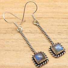 $0.99 Auction !!! 925 SILVER PLATED Blue Fire LABRADORITE LONG Earrings Jewelry