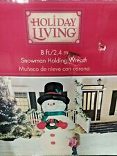 Holiday Living by Gemmy 8' Airblown Snowman Holding Wreath Christmas Inflatable