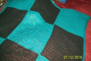 """43""""x43"""" turquoise and black squares new handmade crochet afghan"""
