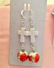 Poppy/flower&Howlight  Cross Earings.