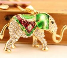 Enamel Betsey Johnson Pendant Golden Rhinestone Enamel Elephant Necklace