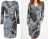 NEW EX JOE BROWNS UK 10 12 14 16 18 LEAFY PRINT LONG SLEEVES MIDI JERSEY DRESS