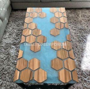 Made to Order Custom Acacia Wooden Hexagon Epoxy Table, Honeycomb Epoxy Top Deco