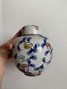 Large Antique Chinese Cloisonne Vase With Lid NO RESERVE