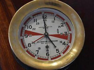 "WWII CHELSEA VINTAGE SHIPS RADIO ROOM CLOCK~6"" DIAL Jan 1942 SN 289215"