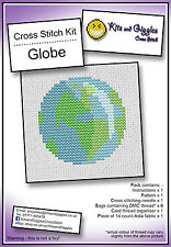 Globe Mini Cross Stitch Kit avec DMC fil, 5x5 cm Terre