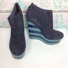 TopShop Blue Stripe Ankle Wedge Platform Boots Booties Womens 11.5 EU 42 Shoes