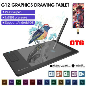 G12 Graphic Drawing Tablet w/Digital Stylus Pressure Sensitivity for Win7/8/10