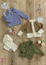 King Cole Chunky Knitting Pattern 4350: Sweater,Cardigans & Scarf