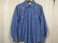 Vintage Buffalo Bill Embroidered Rooster Pearl Snap Western Shirt Large E103