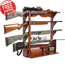Gun Wall Rack Wood Cabinet Display Rifle Gun Locking Bar Ammo Storage Box Shoot
