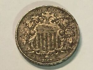 1867 SHIELD NICKEL - PITTED - XF DETAILS - see pictues