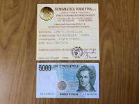 REPUBBLICA ITALIANA BANCONOTA LIRE 5000 BELLINI 1985 certificata FDS SUBALPINA
