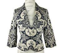 Caslon Women's Jacquard Blazer Jacket 3/4 Sleeve Black Light Brown Size Small