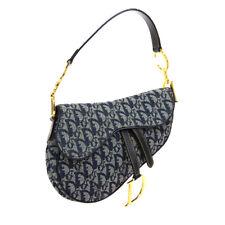 Christian Dior Trotter Saddle Hand Bag RU1012 Navy Gray Canvas Leather K08647