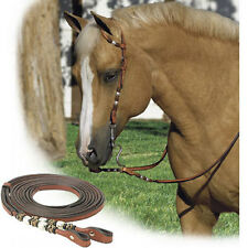 NEW COB / FULL Western Show One Eared Show Bridle in Tan Leather Split Reins