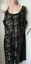 SALE!Bnwt(£30)Size 10 Vintage1920s Style Black Sequin Gold Gatsby/Flapper Dress