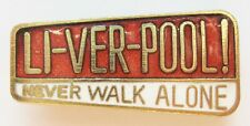 More details for liverpool - superb vintage enamel football pin badge by coffer never walk alone