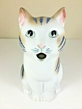 "Ceramic Cat Pitcher 8"" Henriksen Imports Porcelain Cream Feline Tea Coffee"