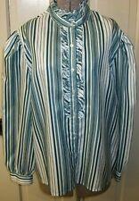Vintage Joyce Ruffle High Neck Secretary Blouse Top Mint Dark Green Stripe Xl 20