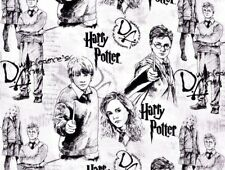 HARRY POTTER COTTON FABRIC  QUILTING LINE ART BLACK & WHITE ALLOVER  BY THE YARD