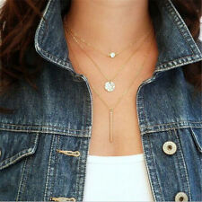 Vintage Girls Multi-Layers Crystal Dangle Pendant Coin Necklace Link Chain Boho