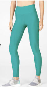 Fabletics High Waisted Cold Weather Leggings Dark Jade Size XL