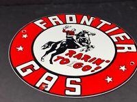 """VINTAGE FRONTIER GAS COWBOY 11 3/4"""" PORCELAIN METAL GASOLINE OIL SIGN PUMP PLATE"""