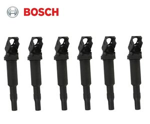 Set of 6 Ignition Coils with Spark Plug Connectors (Original BOSCH Version) BMW