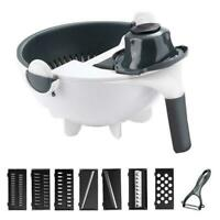 9 In 1 Multifunction Rotate Vegetable Fruit Grater Cutter Basket W3C5