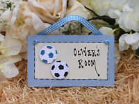 E67 Personalised Boys Football Soccer Blue or Red Bedroom Door Gift Plaque