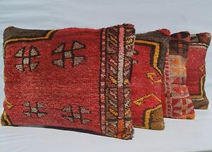 """VINTAGE TURKISH PILLOW COVER RECTANGLE WOOL RUG 20+ RED CARPET AREA RUGS 24""""X18"""""""