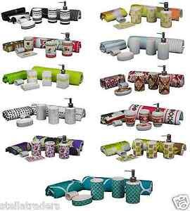 Stella 7 Pieces Ceramic Bathroom Accessories Set mat curtain Combo multi pack