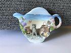 Vintage Melamine Tea Bag Holder Spoon Rest Cats Kittens Beach Picnic Italy