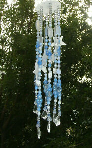 HANGING LT.BLUE WIND CHIME/MOBILE/SUN CATCHER-HAND CRAFTED DRUZY STONES+CRYSTALS