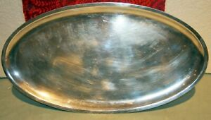 """CHRISTOFLE FRENCH LARGE SILVER PLATED OVAL TRAY/CHARGER 14 3/8"""" X 7 7/8"""" STAMP"""