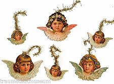Engel Viktorianischer Christbaumschmuck 6 doppelseitige Glanzbilder Goldtinsel