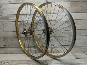 1983 UKAI 26x1.50 Gold Anodized Wheelset SR Large Flange Rear Hub Old School BMX