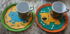 Childrens Colourful Plastic Plate/Cup and Coaster Set