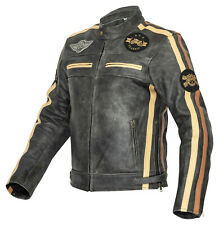 Motorradjacke Herren Classic Motorrad Lederjacke Retro Bikerjacke Vintage Grau