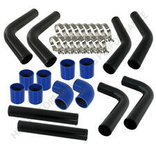 "Universal Diy 8Pc 2.5"" Turbo Intercooler Black Piping Kit With Blue Couplers"