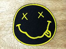 """NEW Nirvana Band embroidered iron on patches dia 3"""" Black&Yellow"""