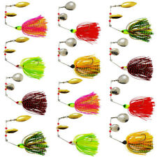 15pcs Fishing Spinner Baits Jigs Head Willow Blade Rubber Skirt Fishing Lures