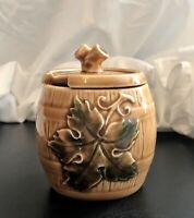 "Vintage Rare Goebel West Germany Sugar Bowl with Green Grape Leaf 4"""