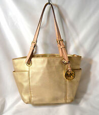 Michael Kors Small Jet Set Gold Leather Tote With Tan Handles Gold Accent