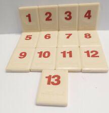 "Original Rummikub 1998 Replacement Tiles Red Numbers 1-13 Pressman 1"" x1.5"""