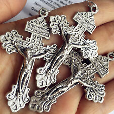 "Large Lot of 3pcs PARDON 2"" Crucifix Cross Rosary Parts Center Catholic pendant"