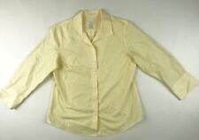 Chico's non-iron cotton yellow white long sleeve Button Down shirt Chico's 1 MED